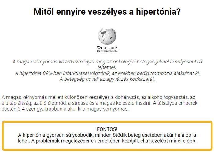 hypertofort a magas vérnyomásról szóló véleményekből)
