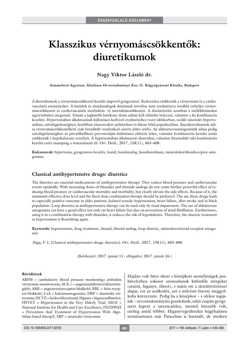 diuretikumok hatása magas vérnyomásban